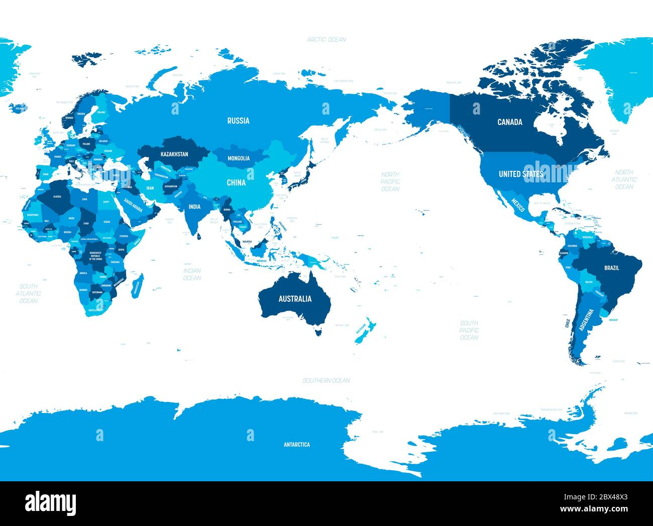 World Map Asia Australia And Pacific Ocean Centered Green Hue Colored On Dark Background High Detailed Political Map Of World With Country Capital Ocean And Sea Names Labeling Stock Vector Image