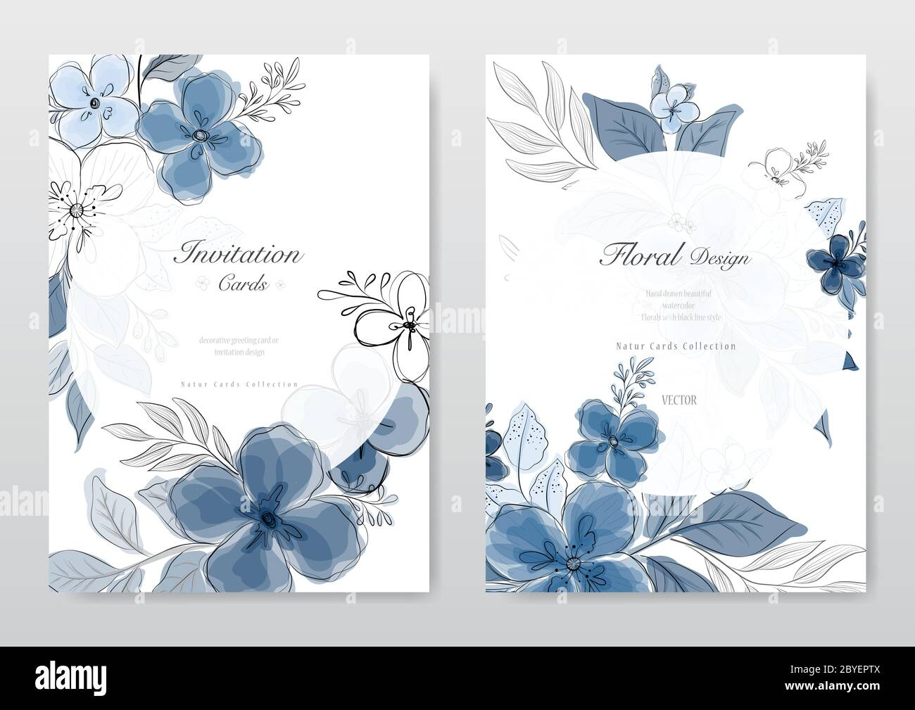 https www alamy com blue flower card collection decorative floral greeting card wedding or invitation design background vector image361128346 html