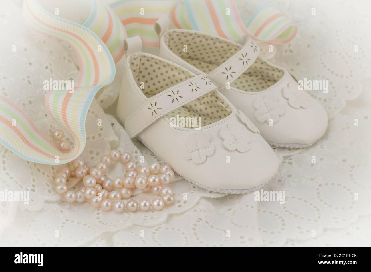 https www alamy com baptism or birthday invitation background for baby girl with pink pearls white shoes and ribbon on image362287539 html