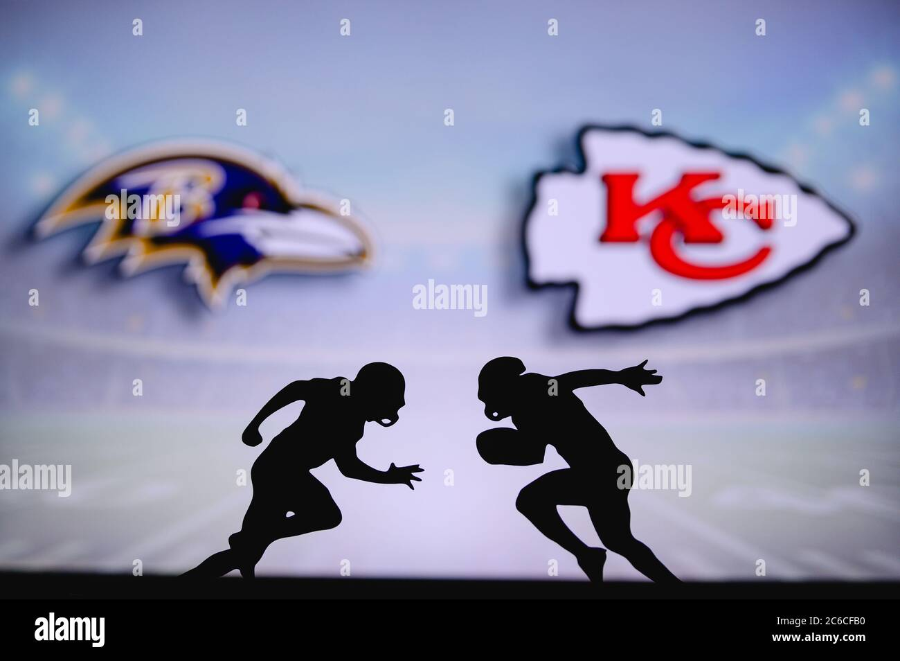 https www alamy com baltimore ravens vs kansas city chiefs nfl match poster two american football players silhouette facing each other on the field clubs logo in back image365381156 html