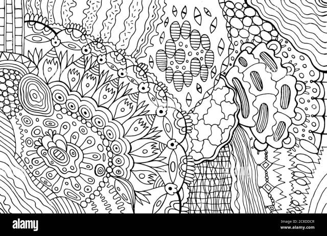 Zendoodle line art with mandala flower. Adult coloring page