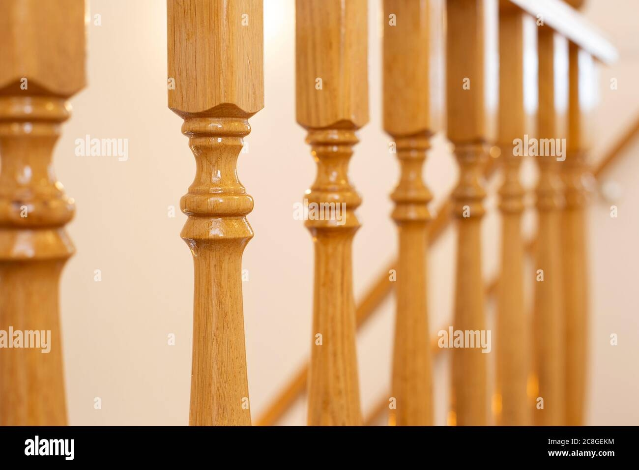 Wooden Railing Of An Luxury Antique Staircase Woodwork Elements | Antique Handrails For Stairs | Antique Brass | Wood | Antique Green | Antique Furniture | Architectural Antiques