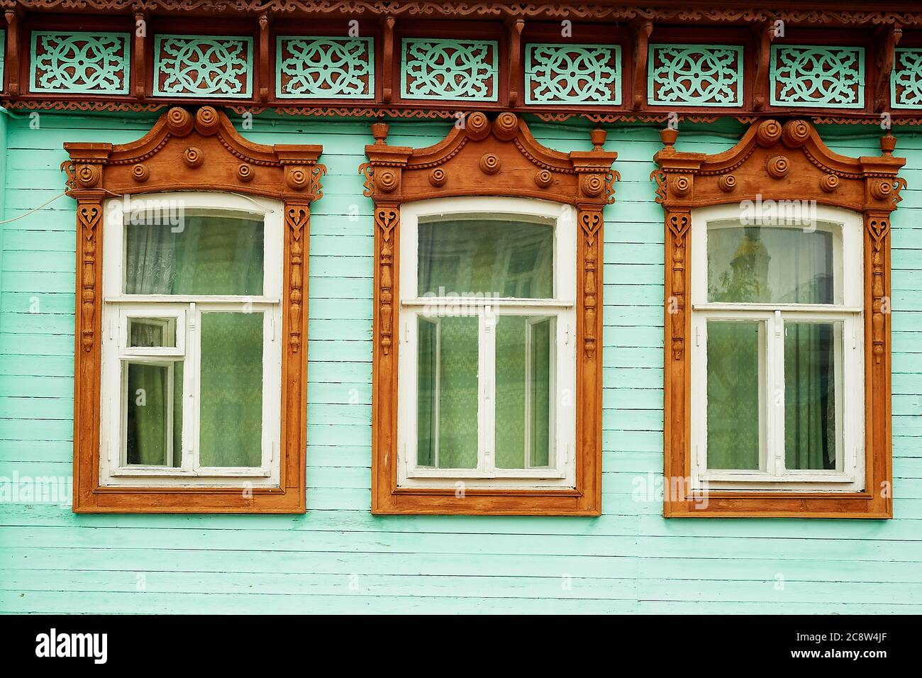 https www alamy com old wooden houses with beautiful windowsframes with tilesan old russian house image366887431 html
