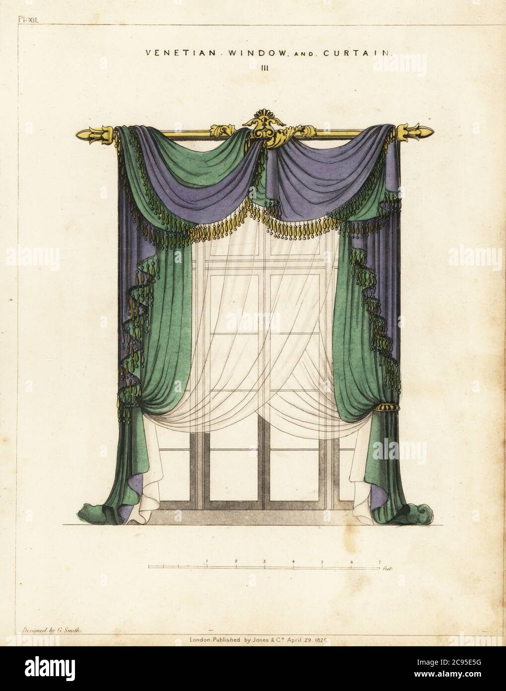 https www alamy com venetian window and curtain regency style blue and green fringed curtains hanging from a gilt curtain rod with transparent curtains over the window handcoloured copperplate engraving from george smiths the cabinet maker and upholsterers guide jones and co london 1828 george smith was upholsterer and furniture draughtsman to his majesty the prince of wales later king george iv circa 1786 1826 image367070524 html
