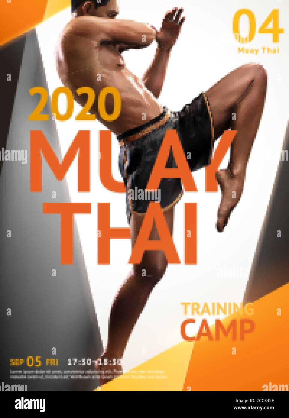 https www alamy com muay thai training camp poster design with geometric frame realistic 3d illustration man doing flying knee image368972506 html