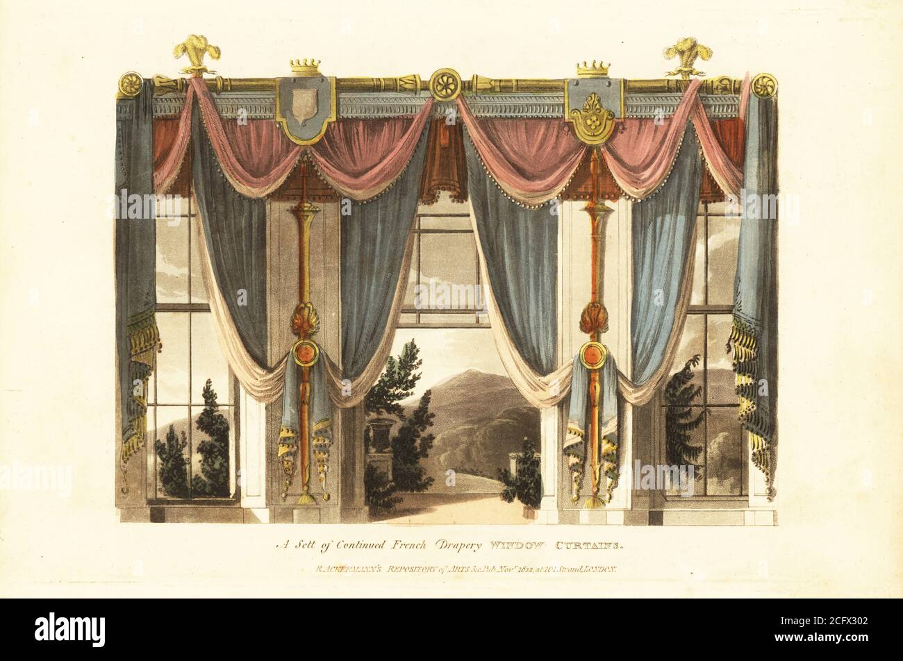 https www alamy com a sett of continued french drapery window curtains luxurious window curtains and drapes hung from a gilt curtain rod decorated with regents plumes of feathers and crowns handcoloured copperplate engraving from the upholsterers and cabinet makers repository consisting of seventy six designs of modern and fashionable furniture rudolph ackermann london 1830 image371210674 html