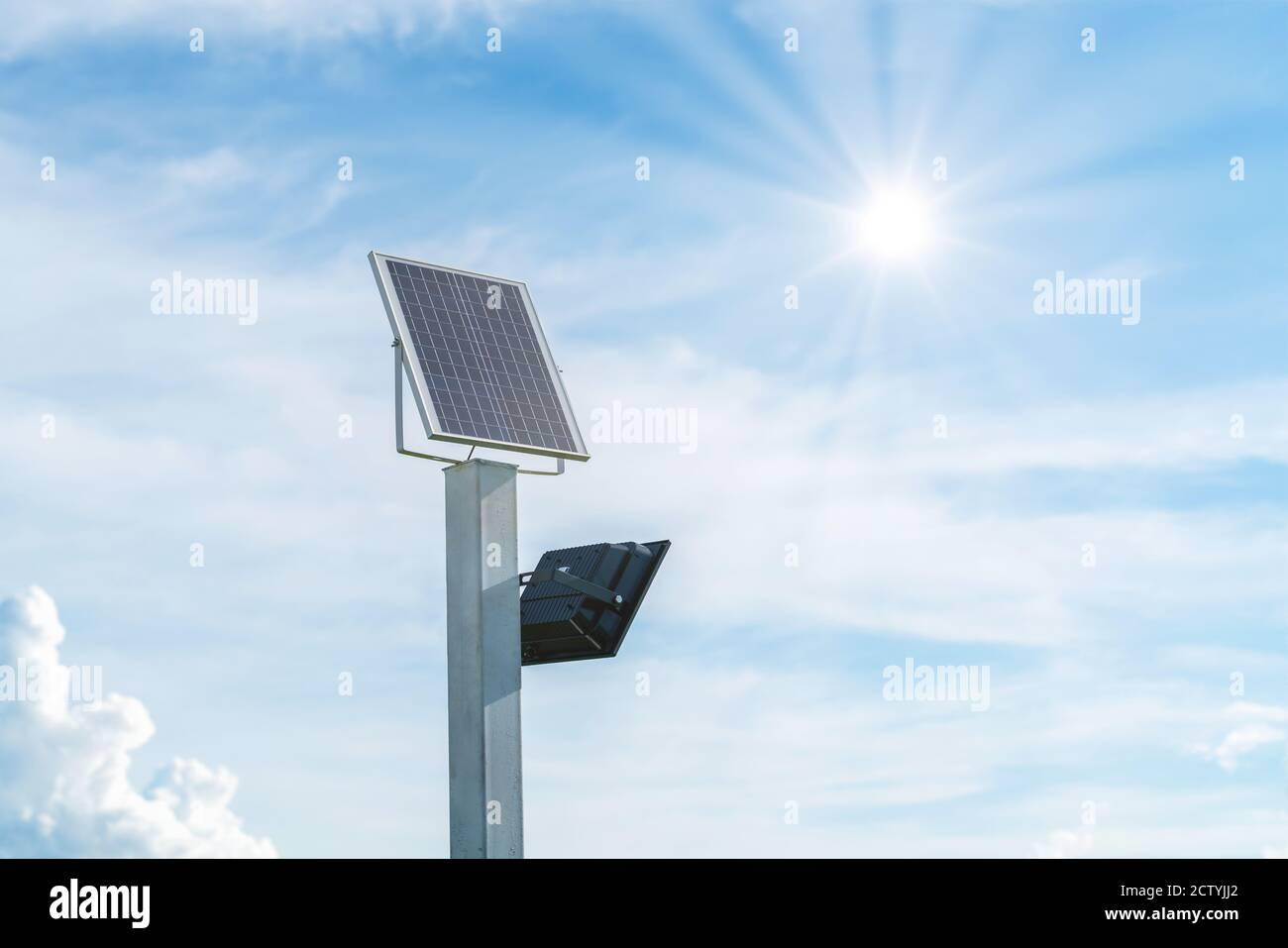 https www alamy com small size solar plant outdoor lighting pole with small solar panel power by themself is new technology and energy trend for public area in the city image376776794 html