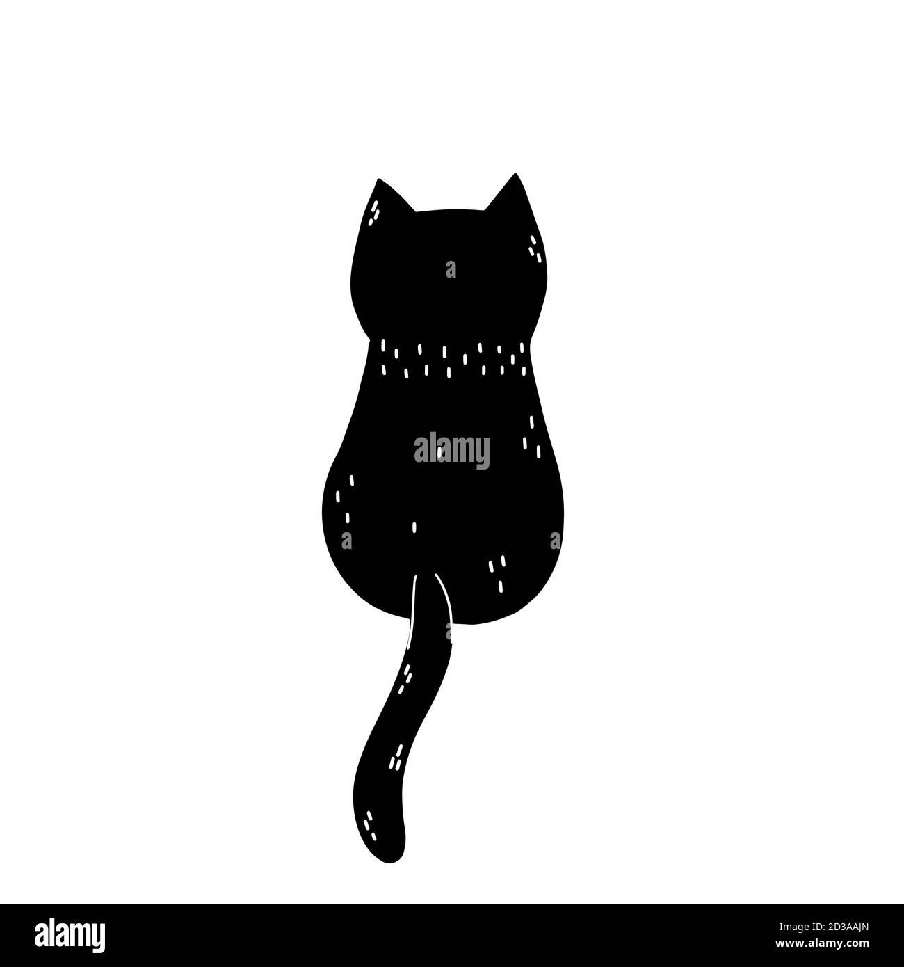 https www alamy com black cat sitting back view cute feline character silhouette image380699949 html