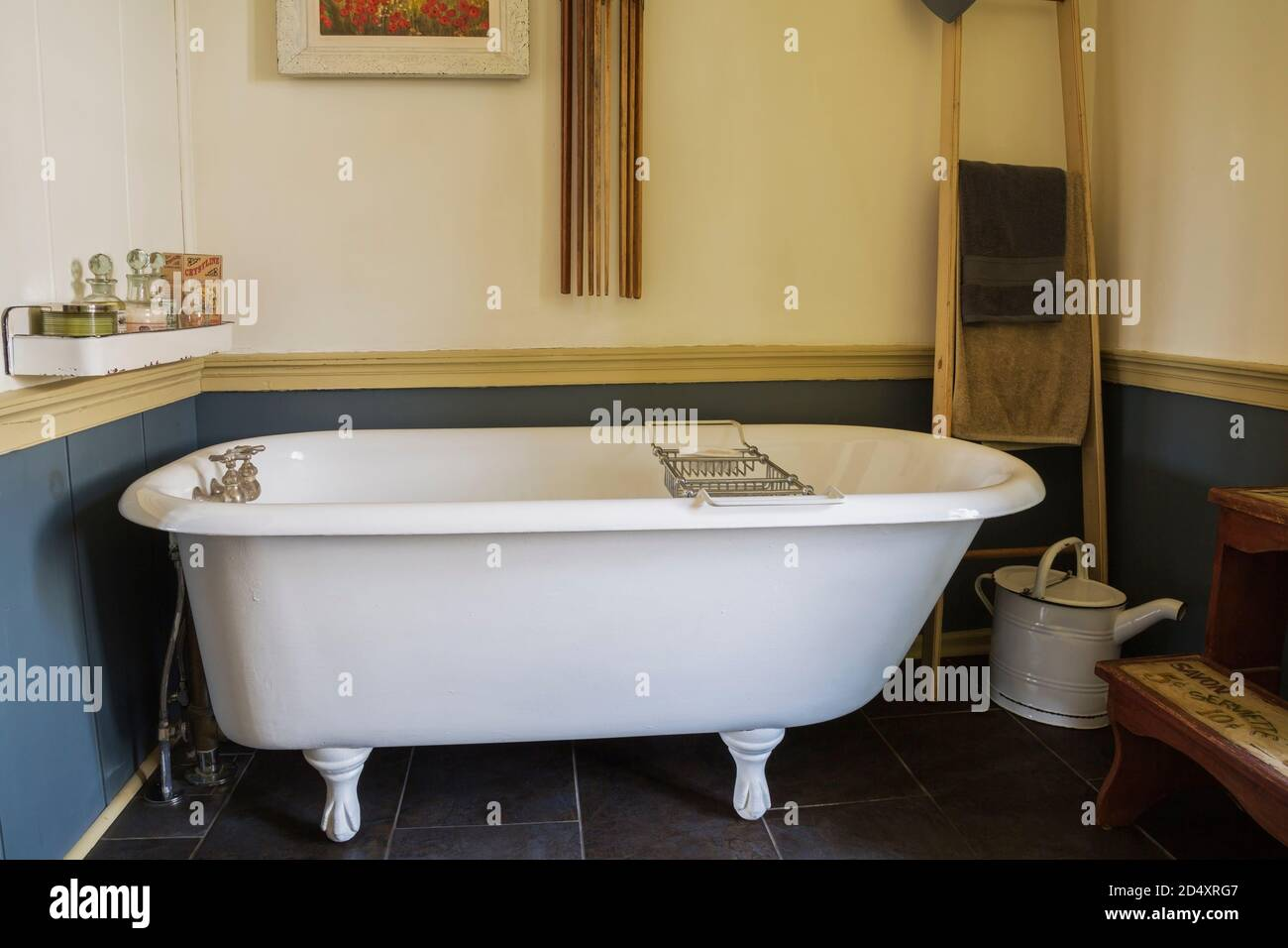 https www alamy com white claw foot bathtub in main bathroom with black ceramic tile floor inside an old 1841 cottage style fieldstone house image381675959 html
