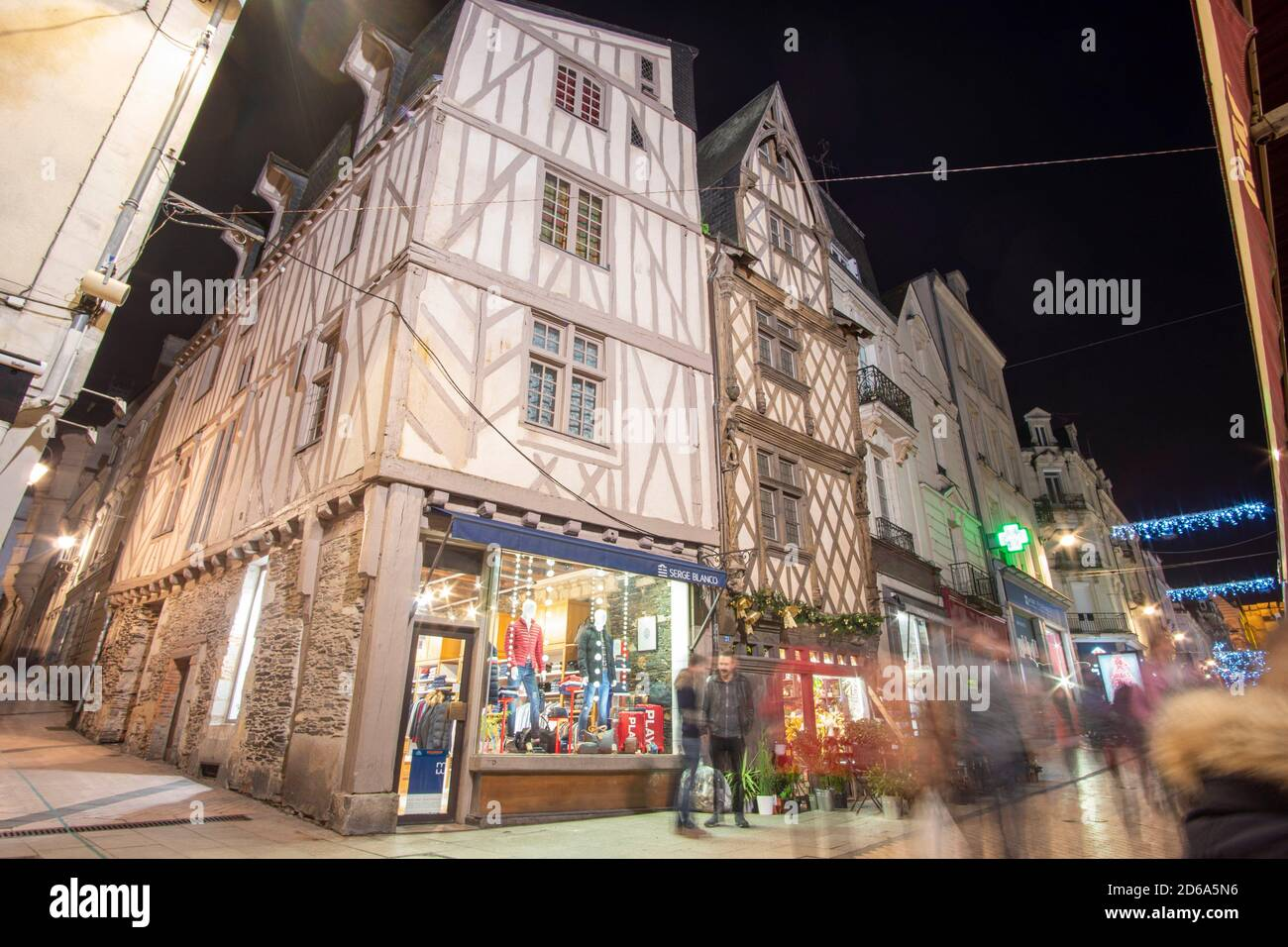 https www alamy com angers loire valley france on december 2019 cityscape by night image382540066 html