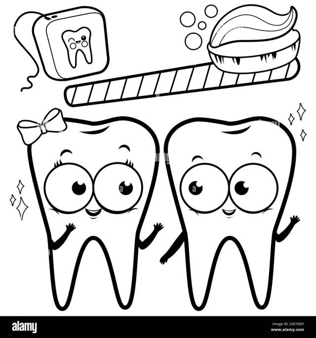 Cartoon teeth with toothbrush and dental floss. Black and white