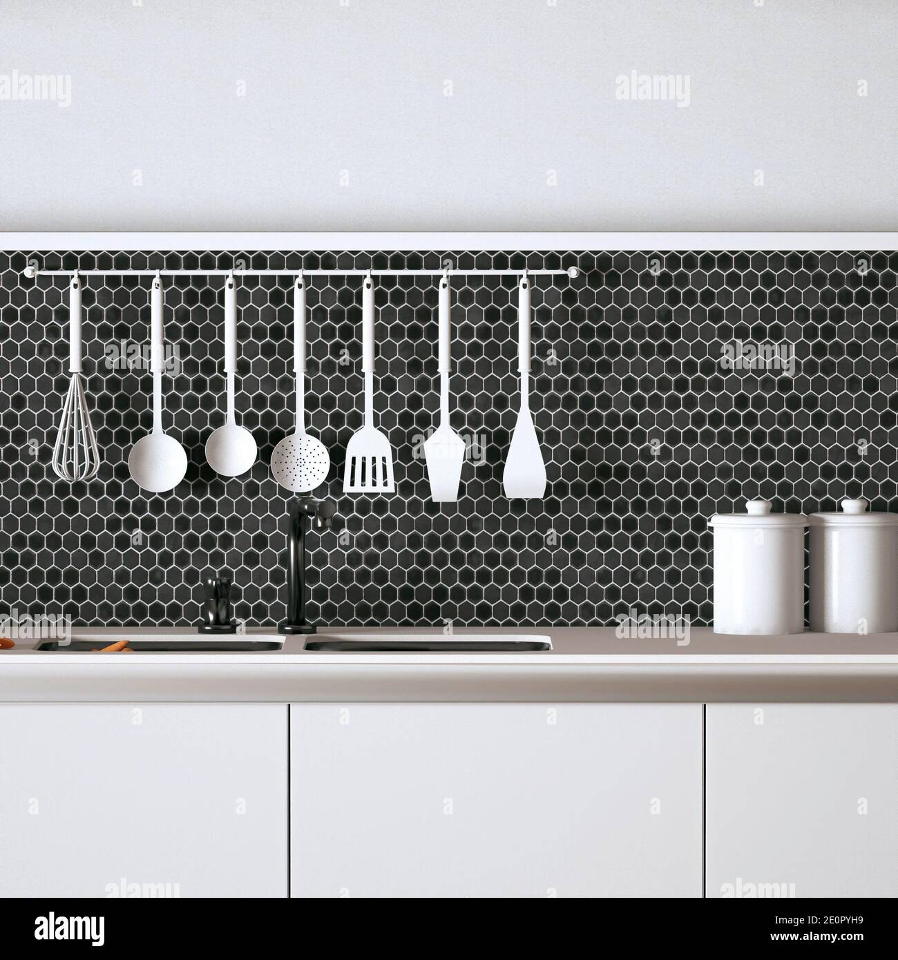 https www alamy com modern kitchen top with minimal objects black hexagon tiles and monotone colours front view 3d rendering image396343061 html