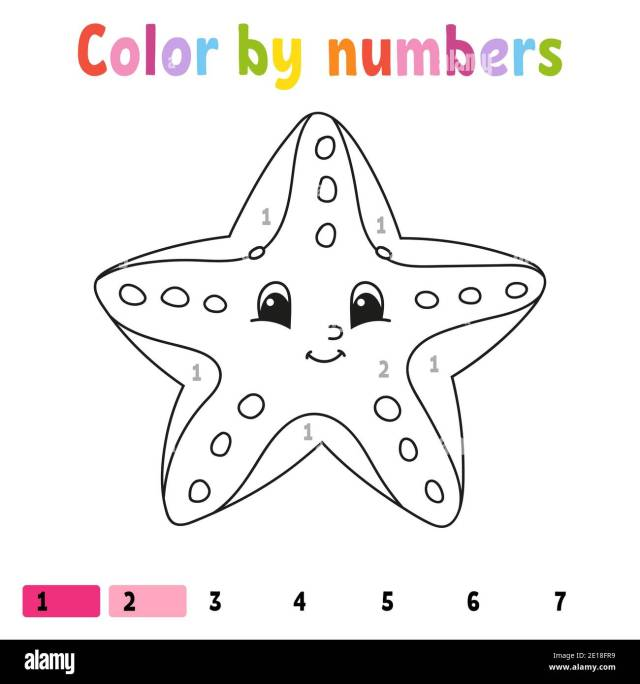 Color by numbers starfish. Coloring book for kids. Sea character