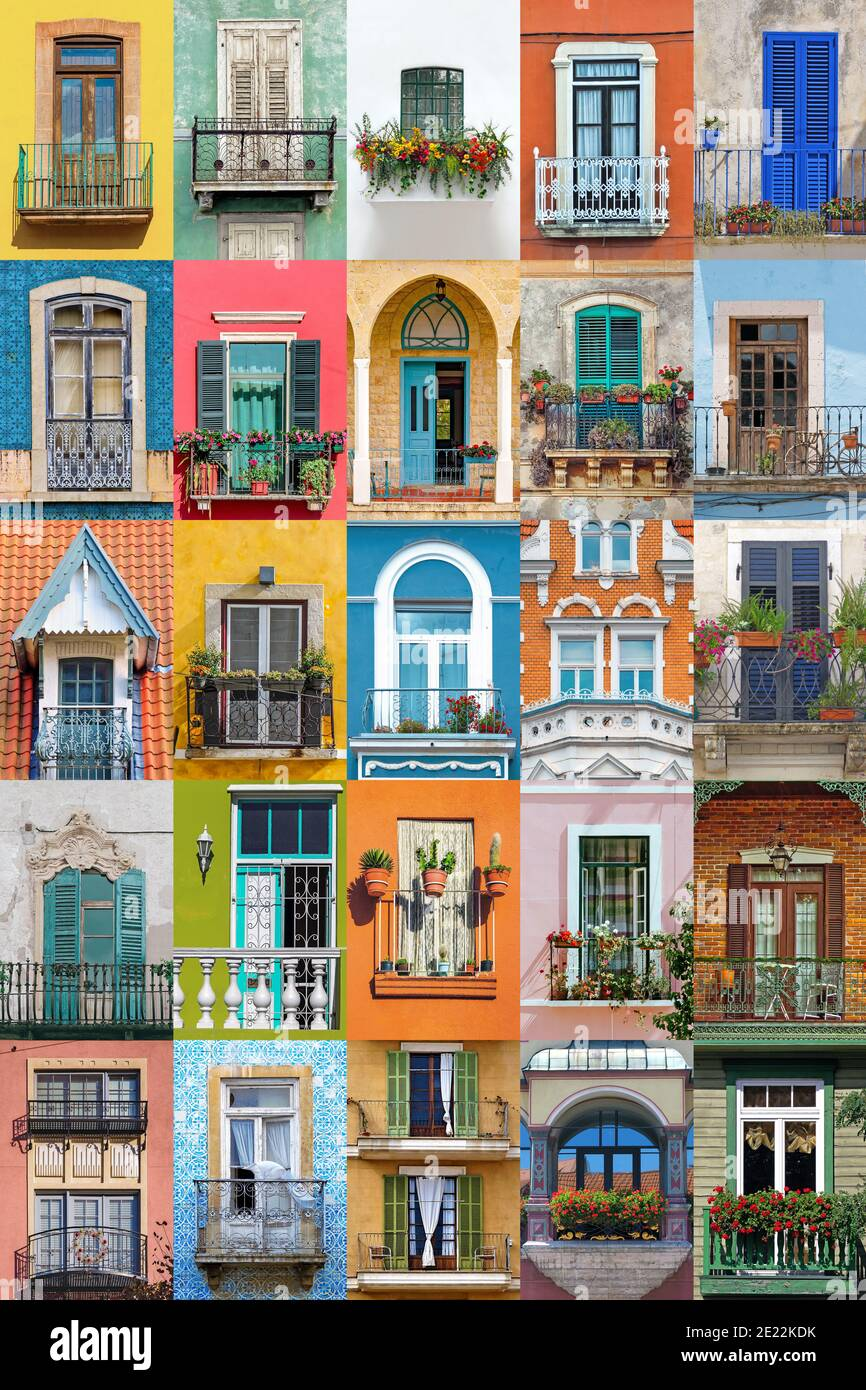 Collage Of Balconies From Around The World Colorful Architectural Background Stock Photo Alamy