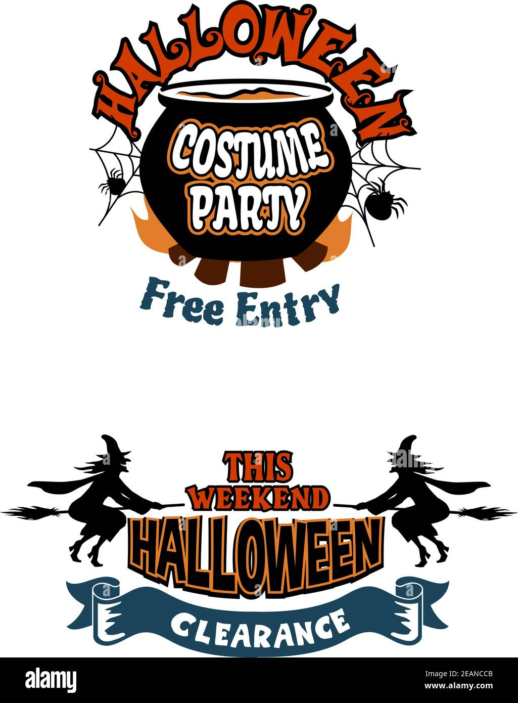 Skeleton ring toss 00:59 ske. Halloween Holiday Invitations With Witch Fire Spider Web Banner Pot Or Bowler And Text Halloween Costume Party Free Entry Stock Vector Image Art Alamy