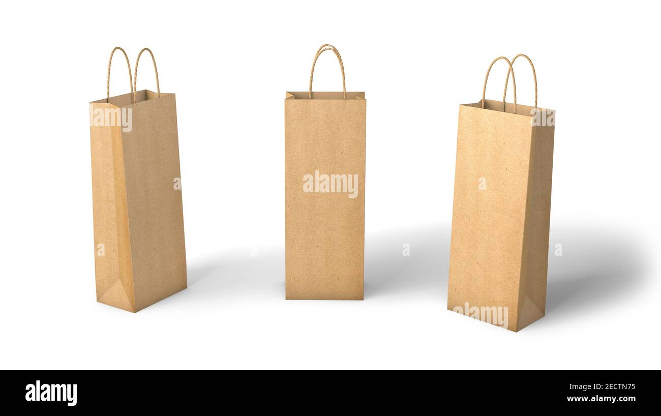 Thin gift bag with ribbon handle and wine bottle mockup. Kraft Paper Bag For Bottles Mockup Template Isolated On White Background 3d Render Stock Photo Alamy