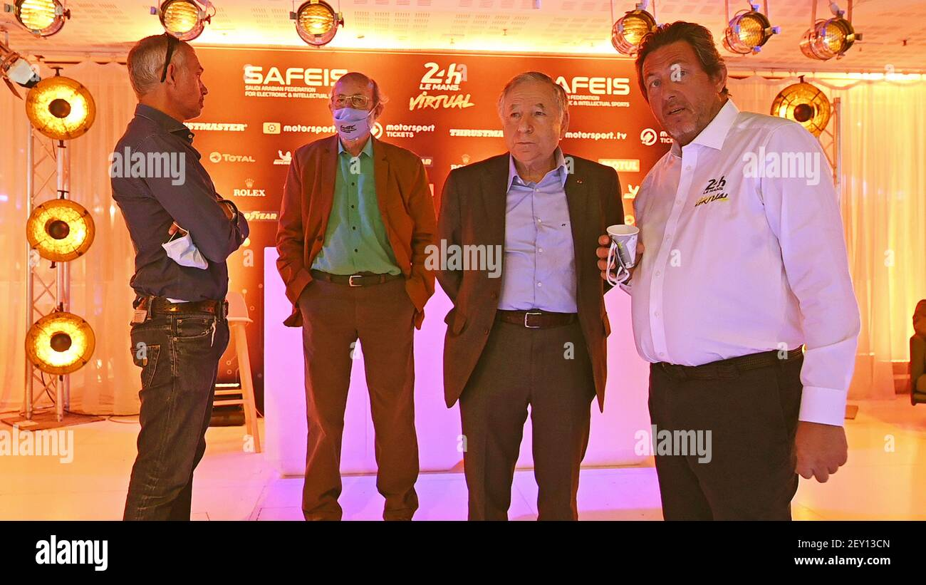 https www alamy com pescarolo henri jean todt president of the fia neveu gerard ceo of fia wec and elms ambiance during the 24 hours of le mans virtual 24 heures du mans virtuelles sim racing from june 13 to 14 2020 run on the rfactor 2 platform at the studio gabriel ground zero for the 24 hours of le mans virtual photo eric vargiolu dppi image412458837 html