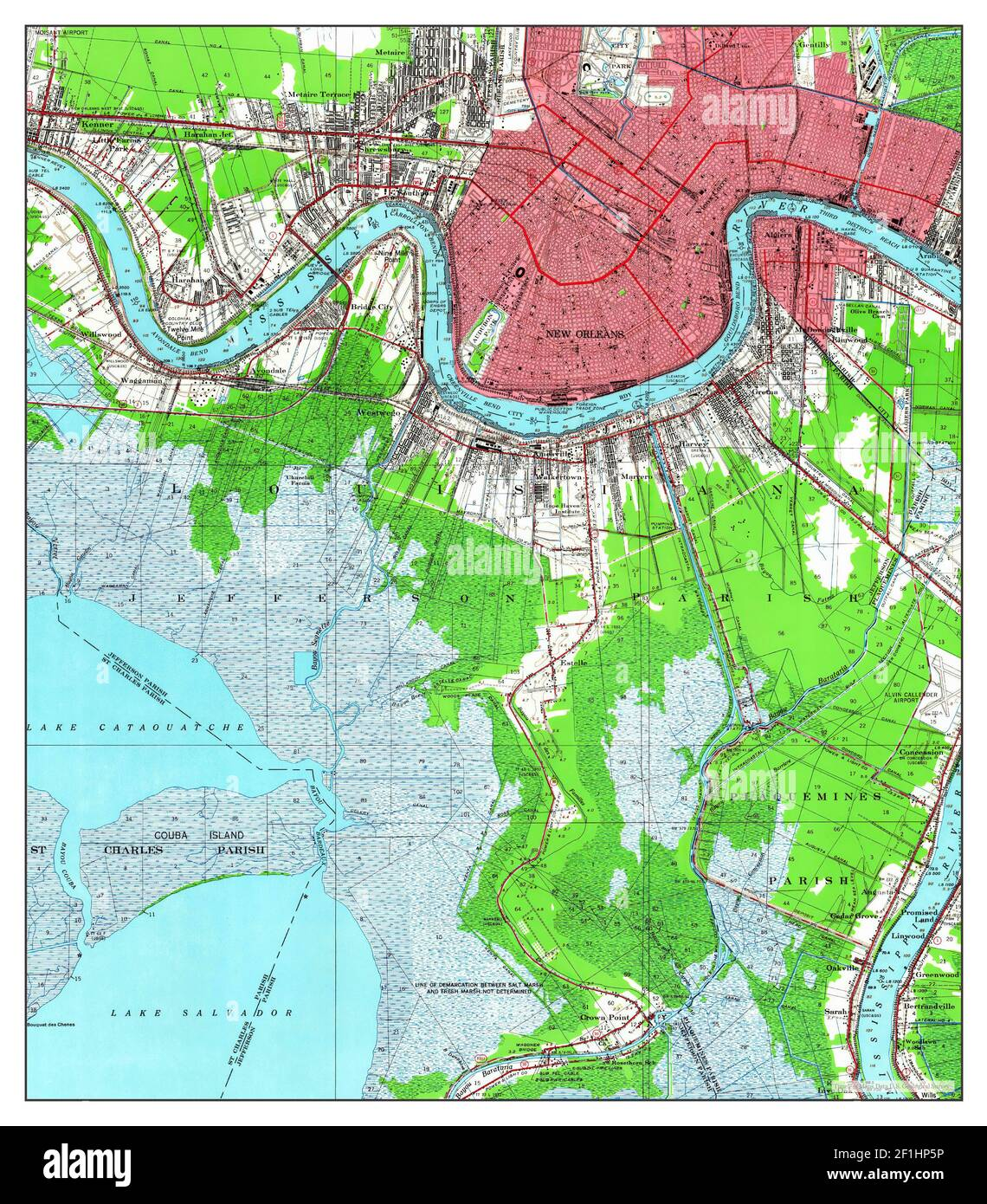 New orleans cbd and downtown map. New Orleans Louisiana Map 1950 1 62500 United States Of America By Timeless Maps Data U S Geological Survey Stock Photo Alamy
