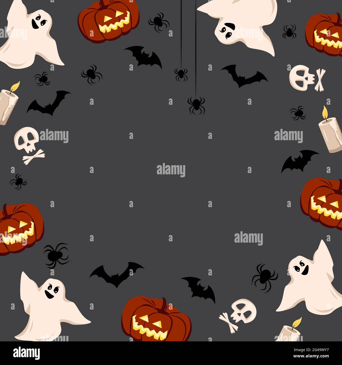 Check out our gallery of horrifying horror images. Bright Halloween Frame On A Dark Background With Pumpkins Ghosts Skulls Bats And Spiders Stock Vector Image Art Alamy