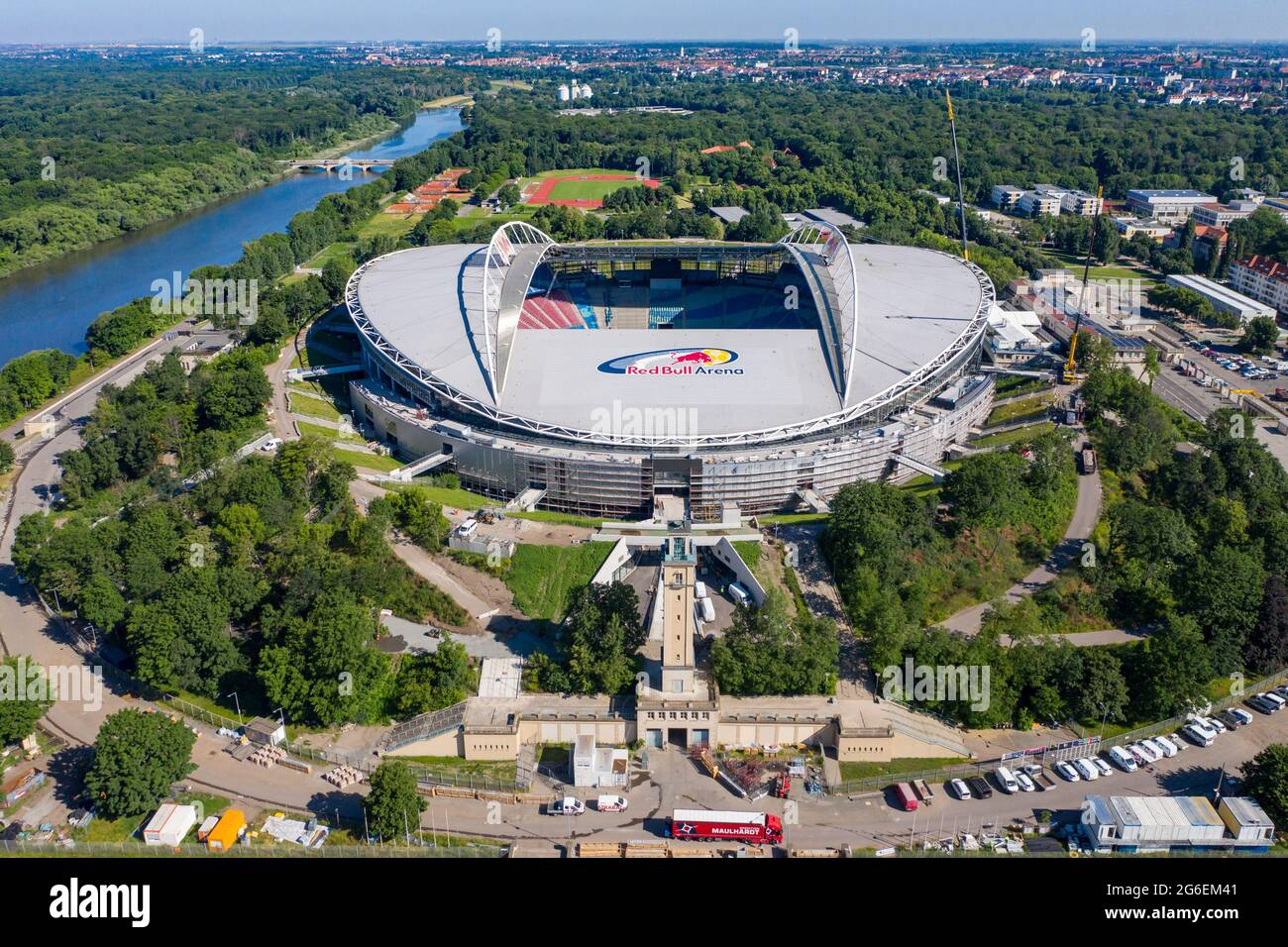 No new stadium then, just an expansion of what's already available at the stadium. 14 June 2021 Saxony Leipzig Football Bundesliga Rb Leipzig Two Cranes And Lots Of Construction Vehicles Are At The Red Bull Arena The Home Ground Of The Rasenballer Is Being Rebuilt The