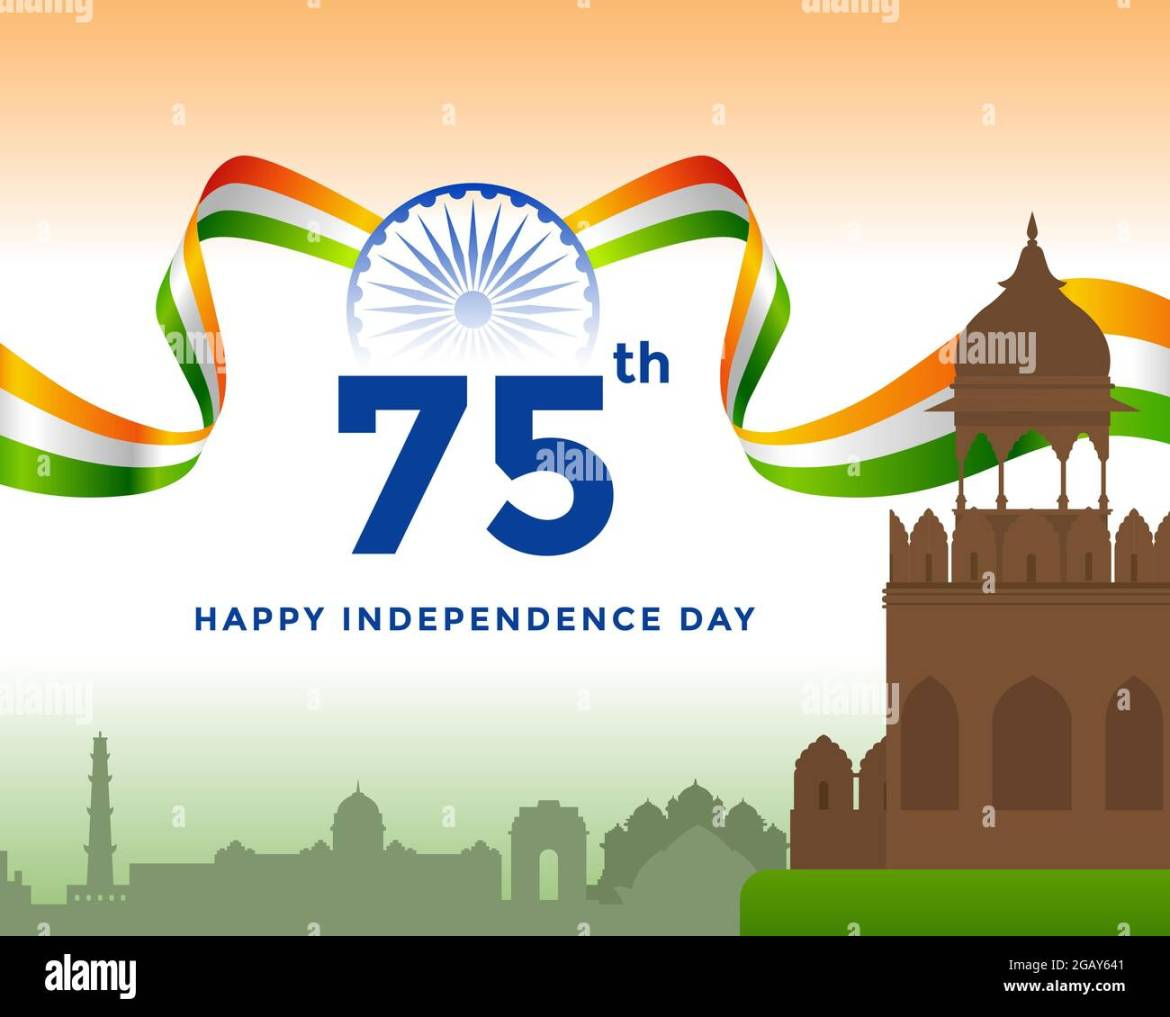 75th Independence day of India greeting with tricolor Indian flag. 15th August template for website and social media Stock Vector Image & Art - Alamy