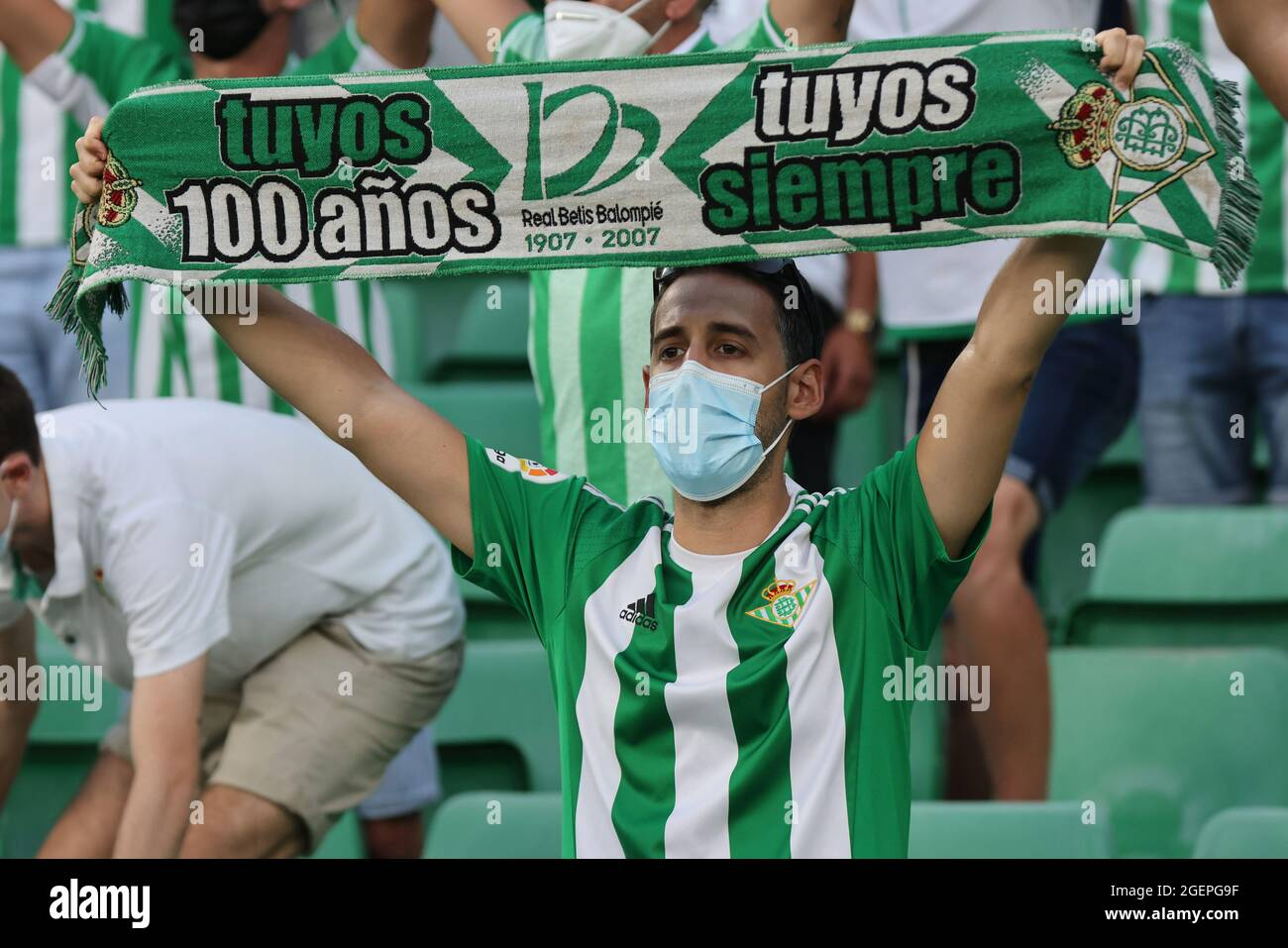 Real Betis Balompié . Seville Spain 20th Aug 2021 Fans Of Real Betis During The La Liga Santader Match Between Real Betis Balompie And Cadiz Cf At Benito Villamarin In Seville Spain On August 20 2021