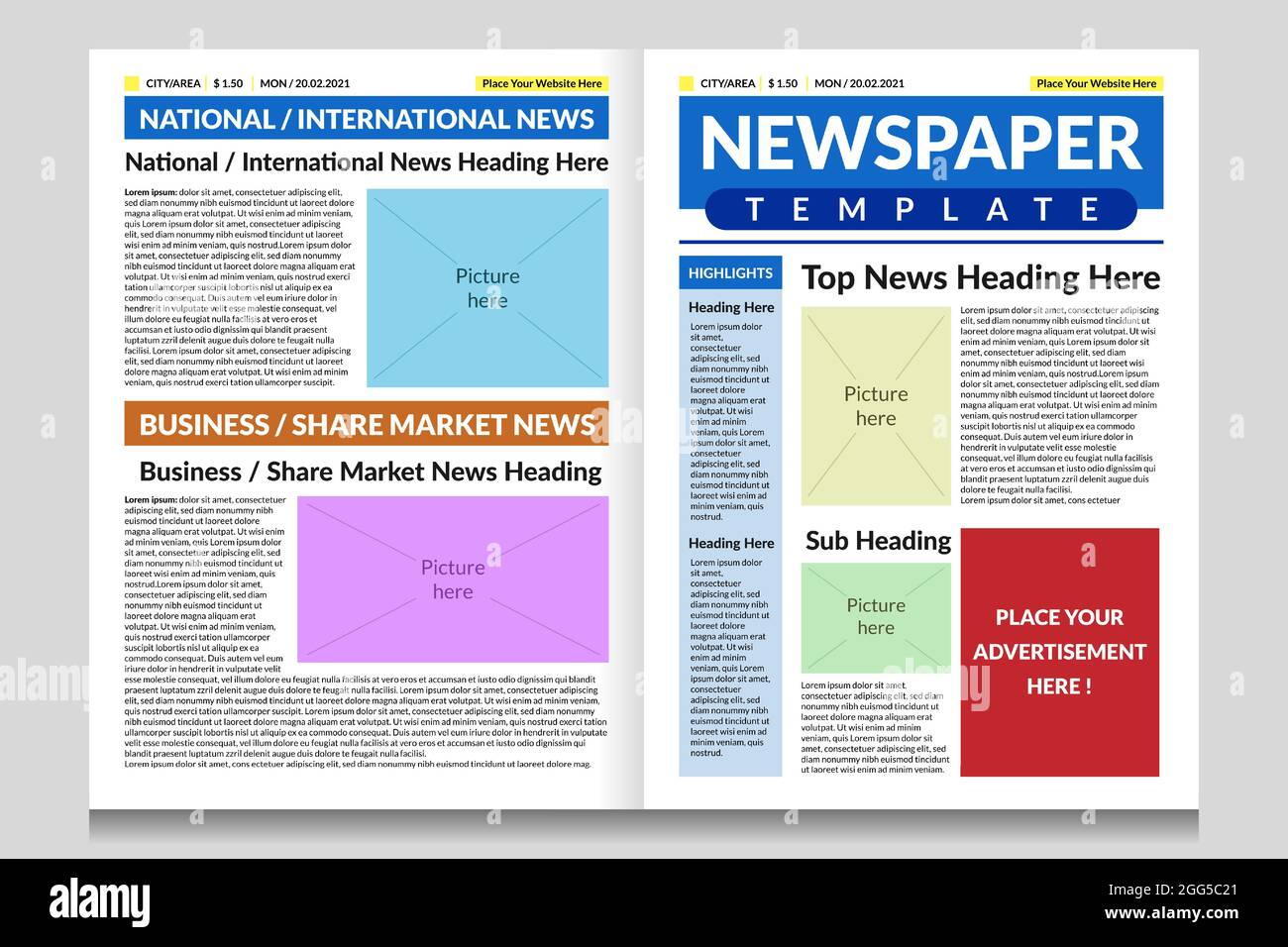 Never overcrowd the front page with a lot of details as it does not look good. Newspaper Front Page Design Template Newspaper Sample Design With Heading Body Text And Pictures Placeholder Stock Vector Image Art Alamy