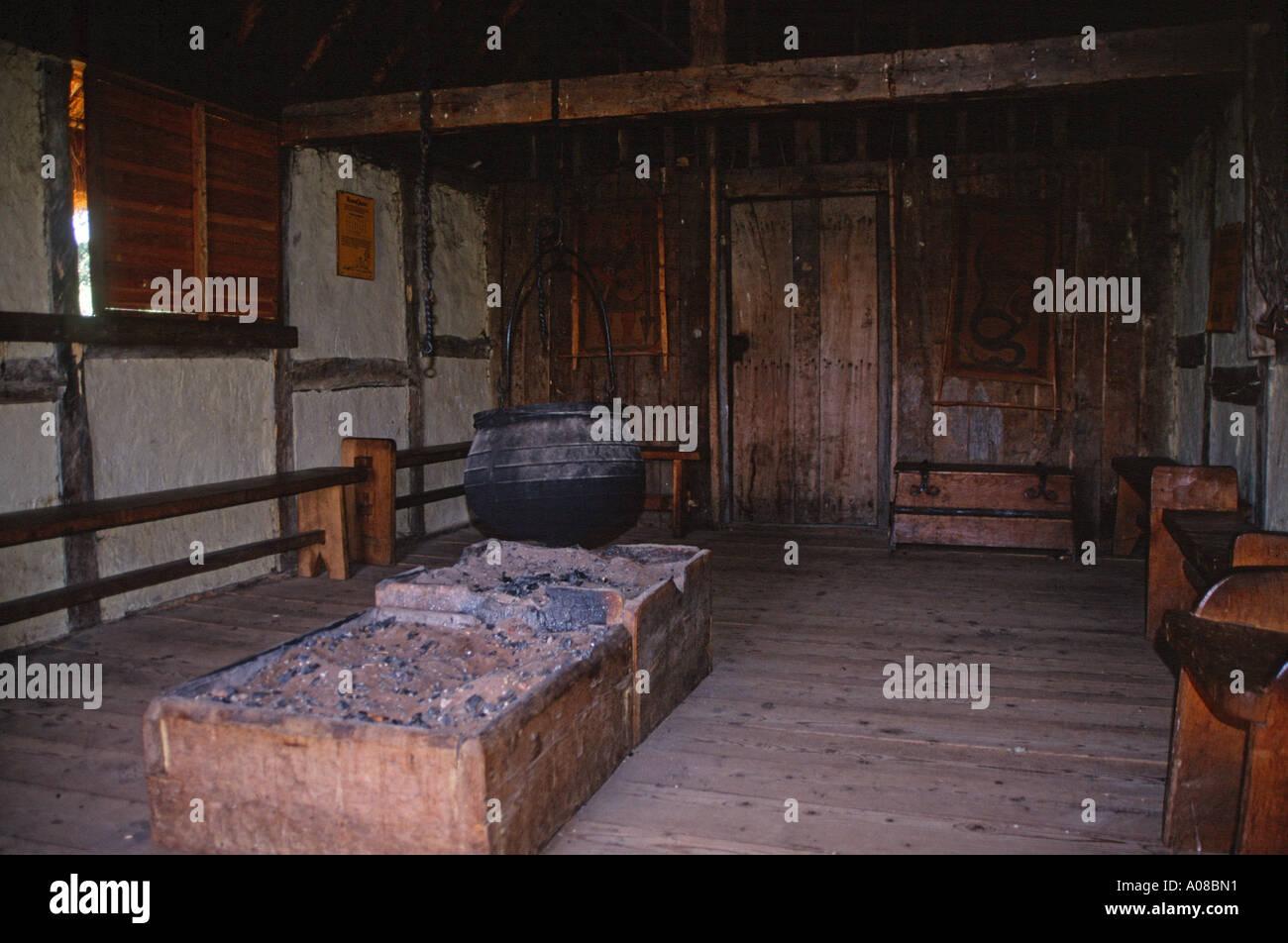 Reconstruction Interior Home Anglo Saxon Village Stock