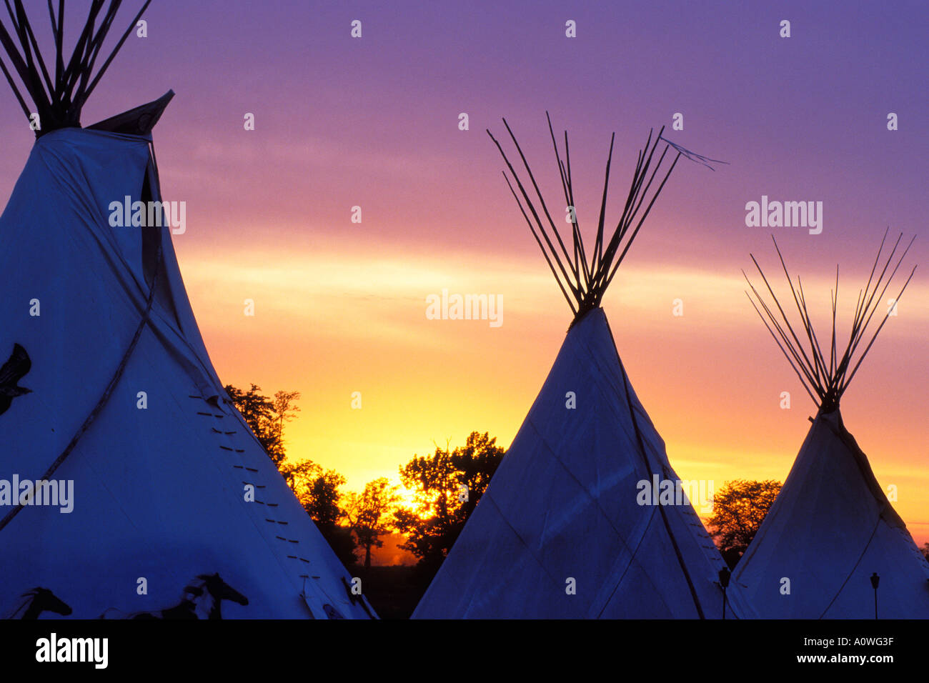 Native American Teepee At A Pow Wow In Illinois Stock