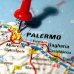 Map Pin Pointing To Palermo Sicily Italy On A Road Map Stock Photo Alamy