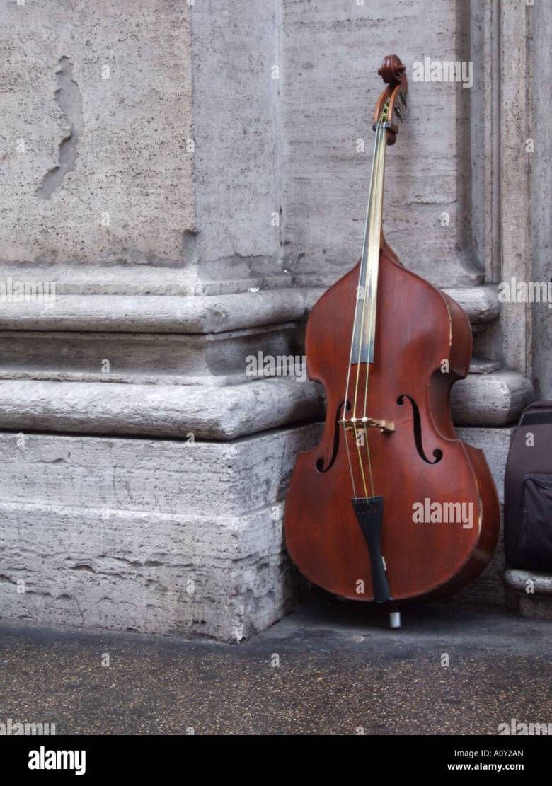 musical instruments on via del corso street in rome stock photo