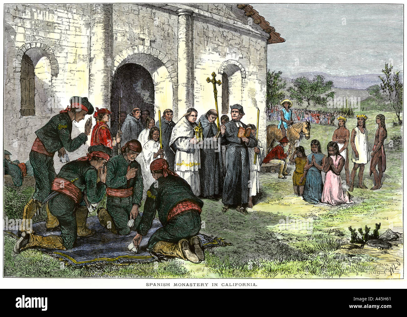 California Mission With Padres Spanish Sol Rs And Native Americans Stock Photo