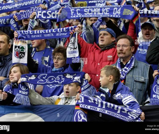 Fans Of Schalke 04 Football Club At The Veltins Arena Gelsenkirchen Germany Stock