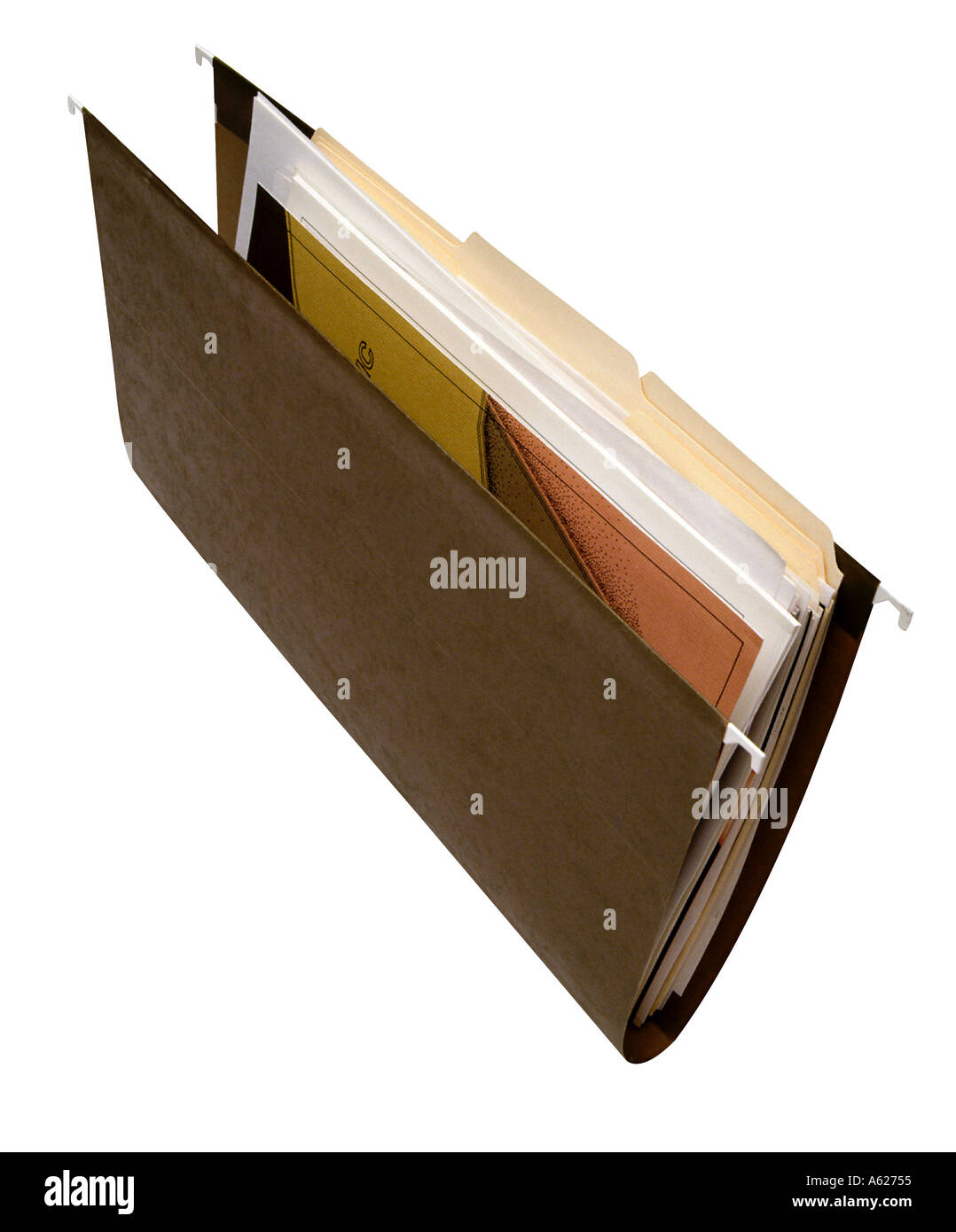 hanging file folder holder with files and documents frontal view stock photo alamy