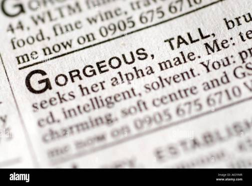Newspaper Dating Ads High Resolution Stock Photography and Images - Alamy