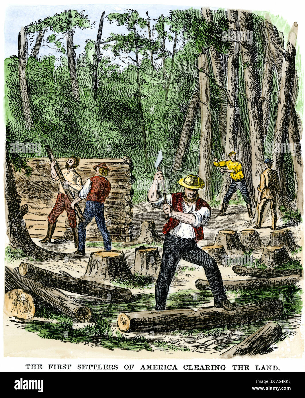 Early Settlers Of North America Clearing Land Stock Photo