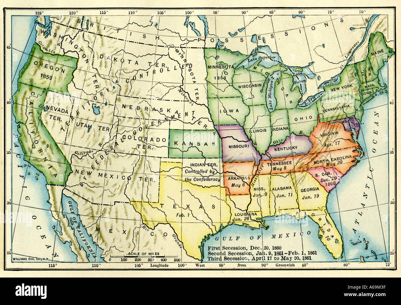 Us Map Showing Seceding States By Date Us Civil War