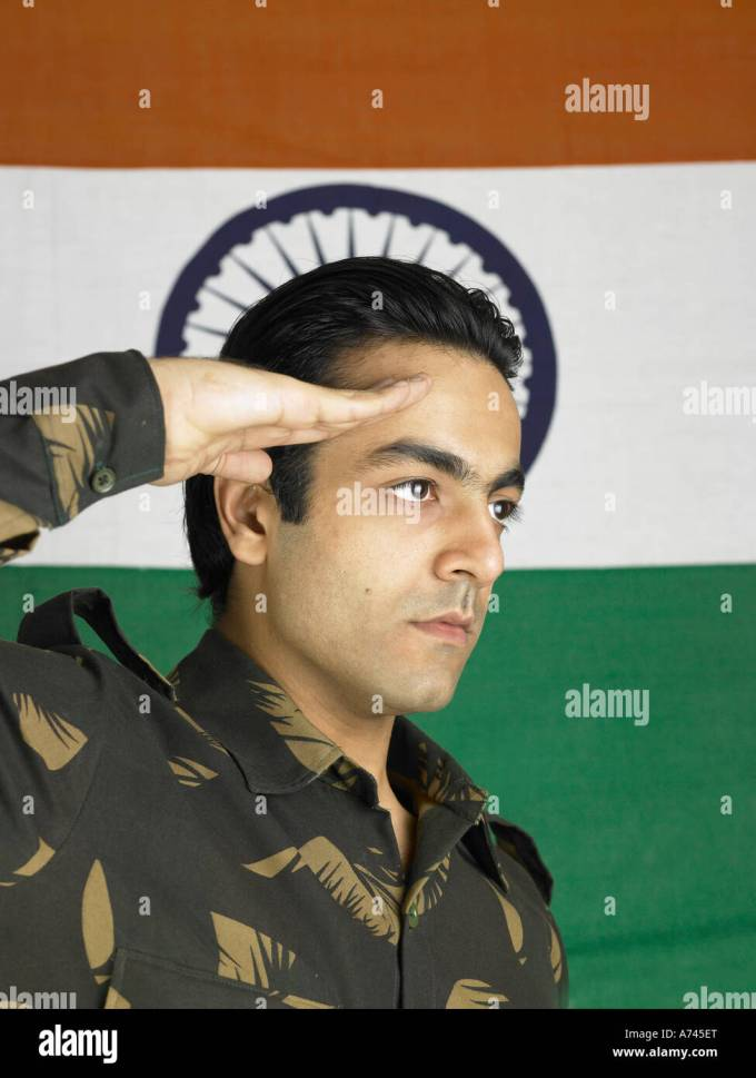 indian army soldier saluting in stock photos & indian army