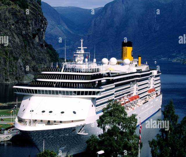 Norway Western Fjords Region Cruise Ship At Flam Village In Aurland Fjord