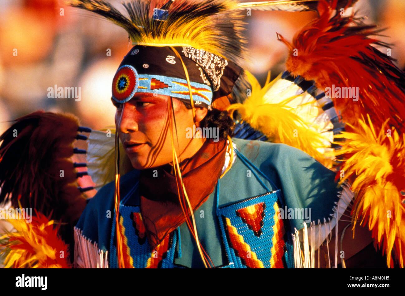 Usa Idaho Native American Indian Man In Colorful Tribal