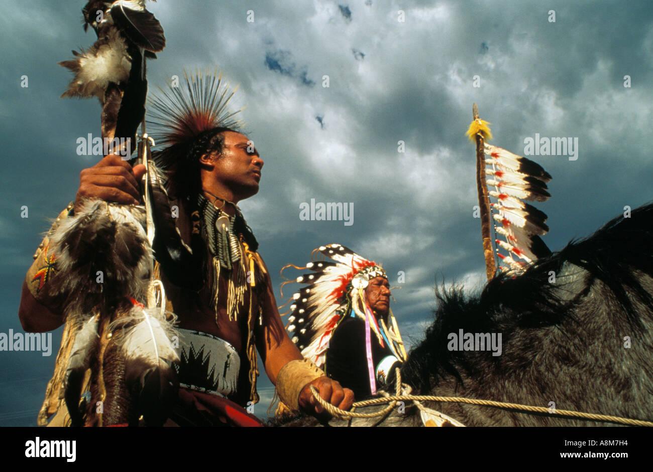Usa Idaho Native American Men In Full Dress On Paint
