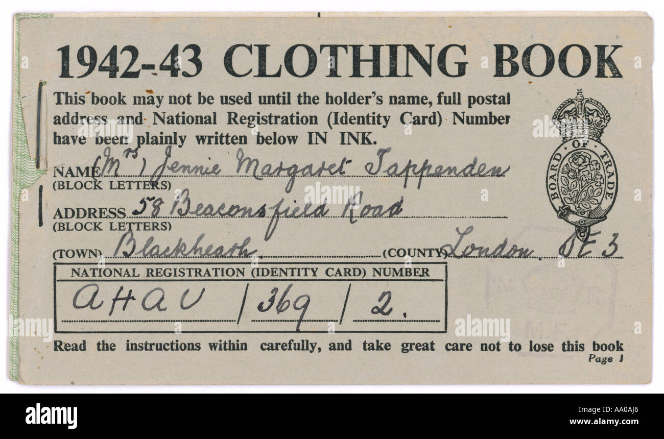 Ration Book High Resolution Stock Photography And Images