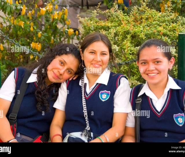 Local Colorful School Girls In Uniform Age 16 In Tourist Village Of Antigua Guatemala