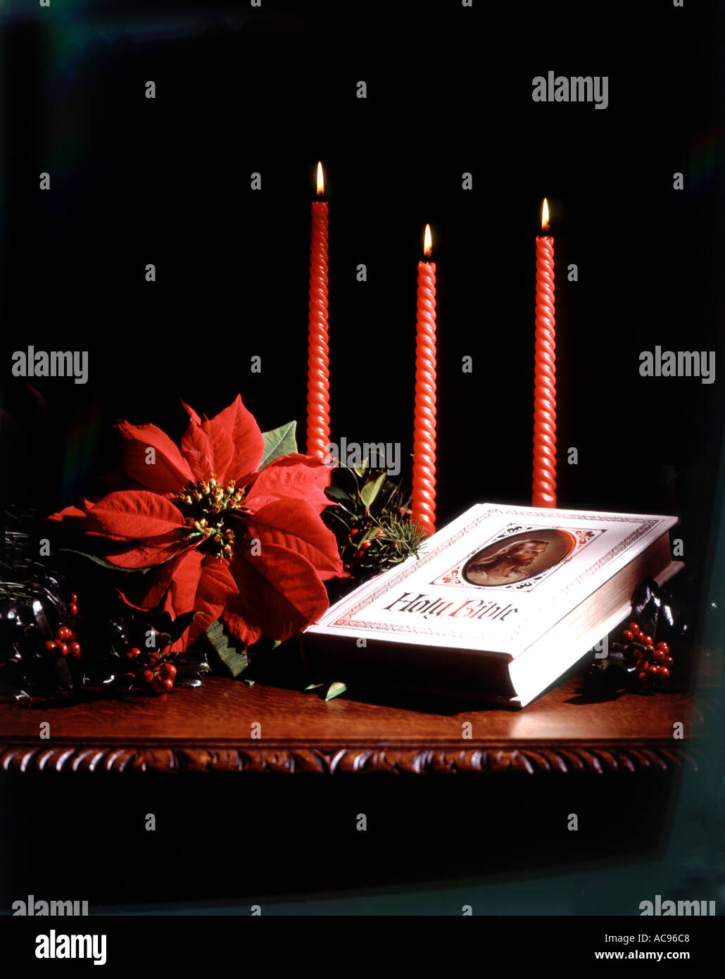 RELIGIOUS CHRISTMAS STILL LIFE WITH BIBLE CANDLES AND