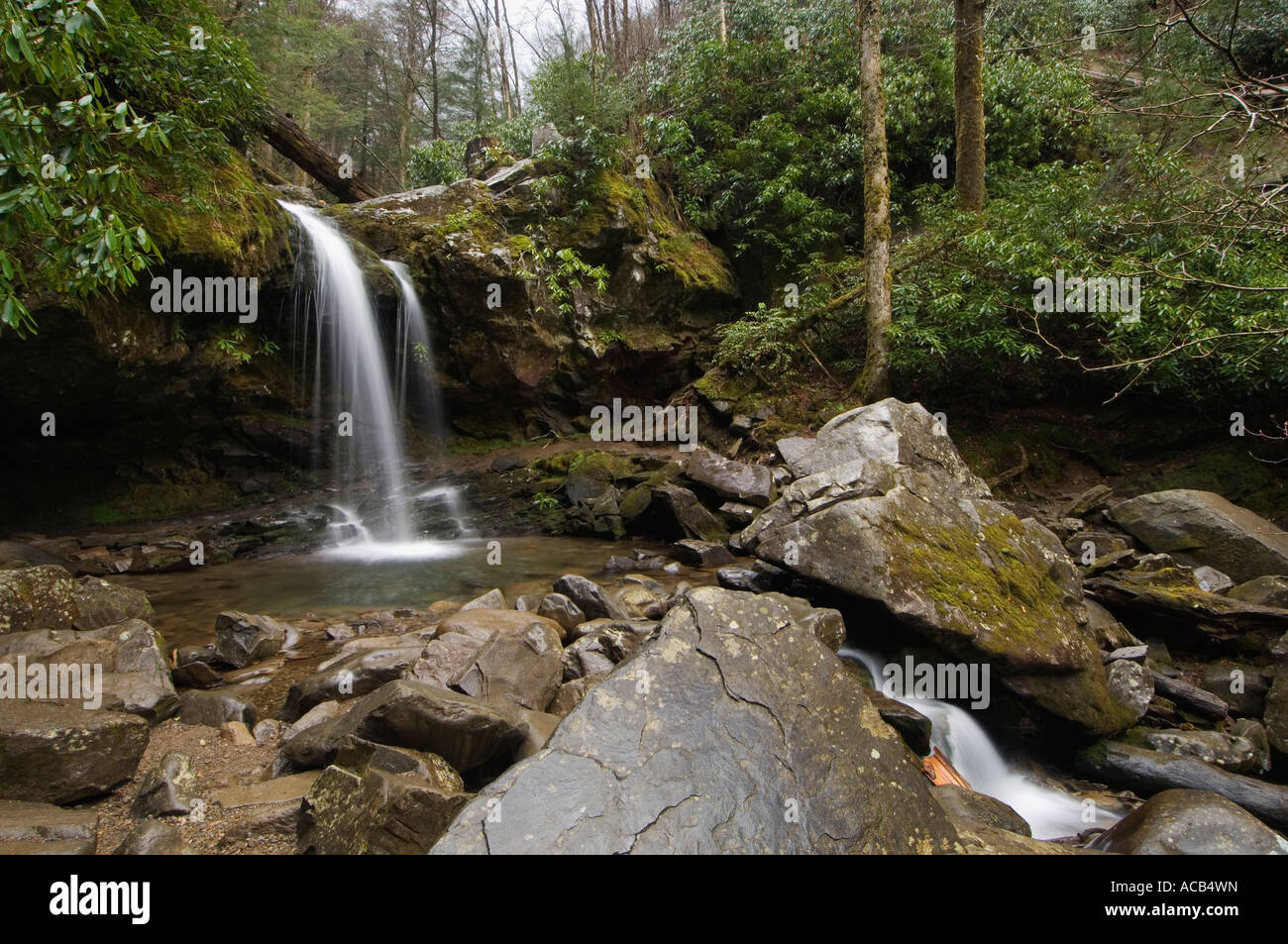 There's something magical about standing behind a wall of water as it cascades to the ground at grotto, the only waterfall in the smokies where you can do. Grotto Falls Roaring Fork Motor Nature Trail Great Smoky Mountains National Park Tennessee Stock Photo Alamy