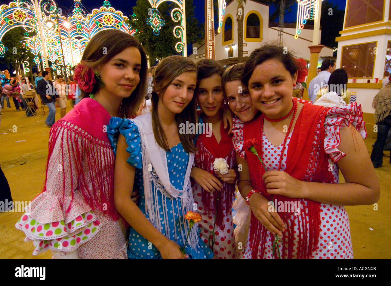 Spanish Girls At Jerez Frontera Horse Fair In Traditional
