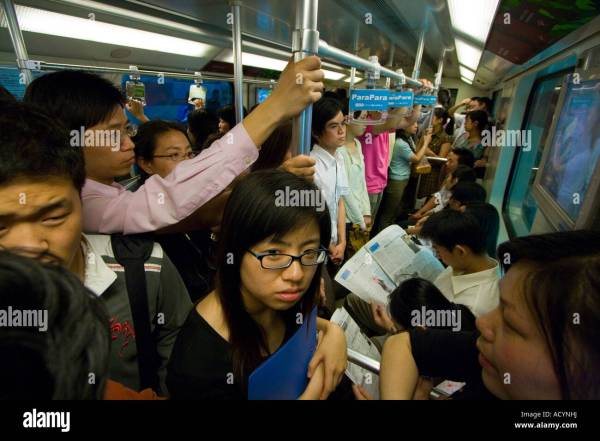 Inside Crowded Train Shanghai Metro Rapid Transit Subway ...