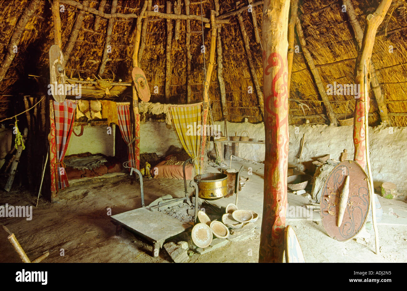 Celtic Iron Age Roundhouse Reconstructed On Original