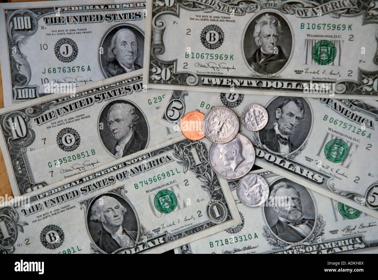 Us Currency Coins Amp Dollar Bills Stock Photo