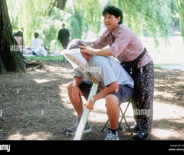 Asian Woman Giving Massage Central Park New York City Nyc Usa